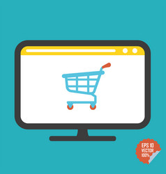 shopping cart on screen flat icon vector image