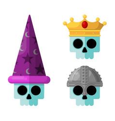 skulls wearing fantasy medieval flat graphi vector image