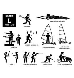 Sport games alphabet l icons pictograph lacrosse vector