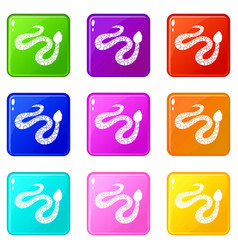 spotted snake icons 9 set vector image
