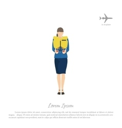 Stewardess passenger trains to use a lifejacket vector