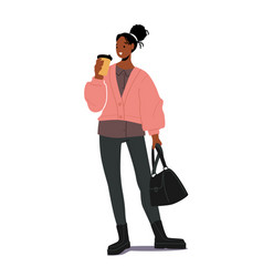 stylish african girl with coffee and hand bag vector image