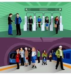 Subway passengers 2 flat banners composition vector