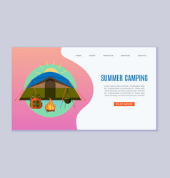 summer camping for travel website vector image