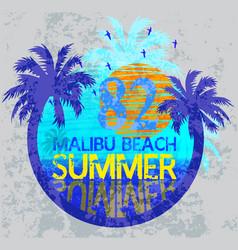 summer surf typography t-shirt graphics vector image