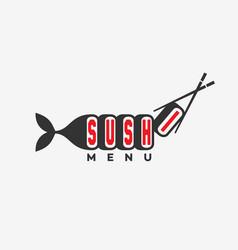 sushi menu logo vector image
