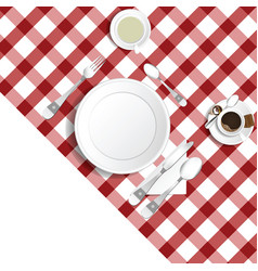 Table for lunch with coffee and tea set one vector