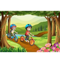 Two boys riding bicycle in park vector