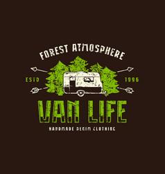 Van life emblem for t-shirt vector