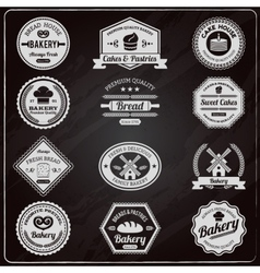 Vintage bakery chalkboard labels set vector