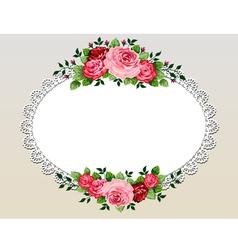 Vintage roses bouquet frame vector