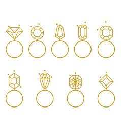 wedding rings icon bride and groom jewelry sign vector image