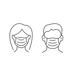 woman and man avatar in protective masks vector image