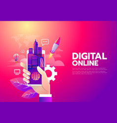 world digital online shopping vector image