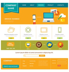 business website template flat design vector image