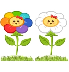 Cartoon Smiling Flower Happy Daisy Isolated On vector image