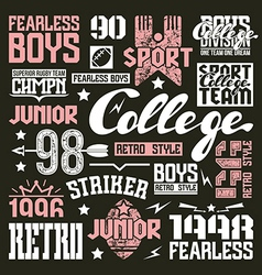 College rugby team design elements vector image vector image