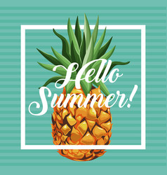 hello summer pineapple fresh fruit card vector image