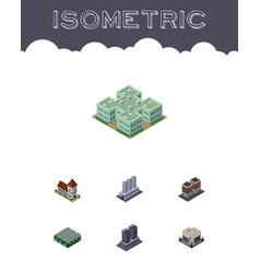 Isometric architecture set of water storage vector