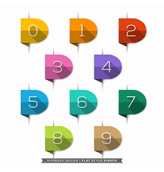 0-9 Number long shadow Flat Icons vector image vector image