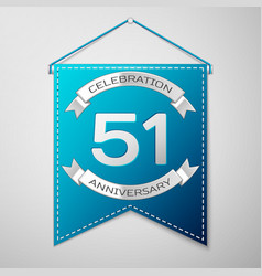 blue pennant with inscription fifty one years vector image vector image