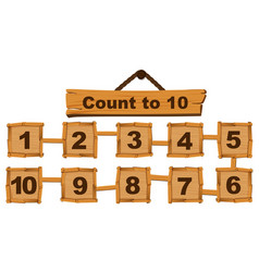 counting number one to ten on wooden boards vector image