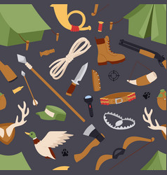 Hunting icons seamless pattern isolated vector