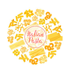 italian pasta spaghetti macaroni round poster vector image vector image