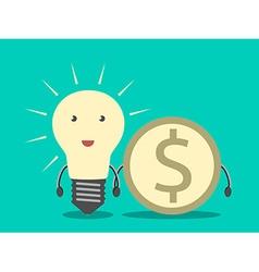 Lightbulb and dollar coin vector image