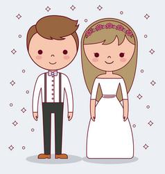 cartoon wedding couple icon vector image