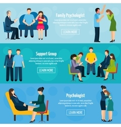 Counseling Support 3 Flat Banners Set vector image vector image