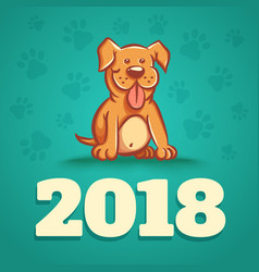 dog is 2018 new years symbol vector image vector image