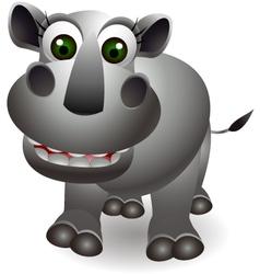 funny rhino cartoon vector image vector image