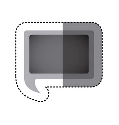 grayscale sticker of rectangular speech with tail vector image vector image