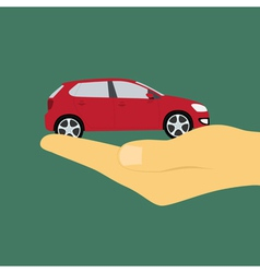 hand holding car vector image vector image