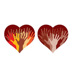 hearts with many helping hands vector image