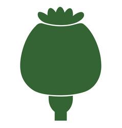 Opium poppy flat icon vector
