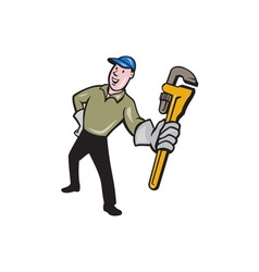 Plumber Presenting Monkey Wrench Isolated Cartoon vector image vector image