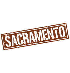 sacramento brown square stamp vector image vector image