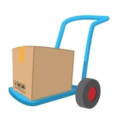 Blue hand cart with cardboard box cartoon icon vector image