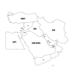 political map of middle east or near east simple vector image
