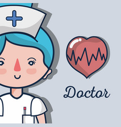 Professional nurse with heartbeat to help people vector