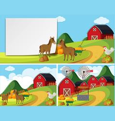 scenes with horses in farmyard vector image