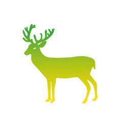 silhouette reindeer animal to merry christmas vector image
