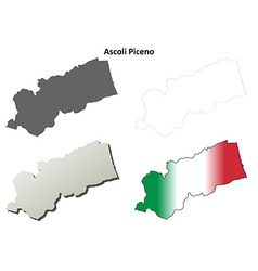 Ascoli Piceno blank detailed outline map set vector