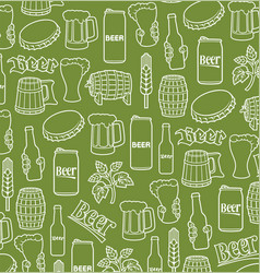 background pattern with beer icons vector image