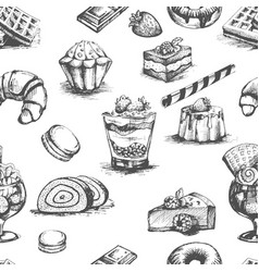 bakery cakes and desserts cocktails sketches vector image