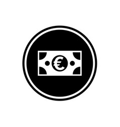 banknote euro round glyph icon user interface icon vector image
