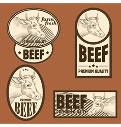 Beef vintage labels set vector image
