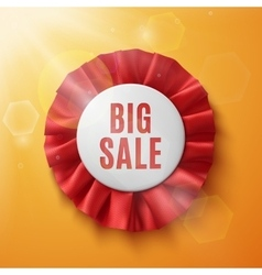 Big sale realistic red fabric award ribbon vector image